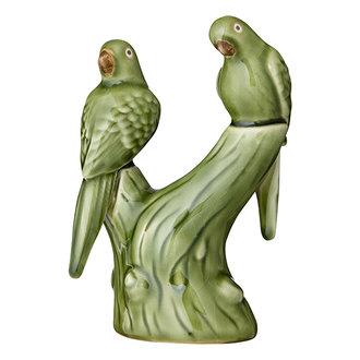 Bungalow Aardewerk papegaaien groen 18 cm