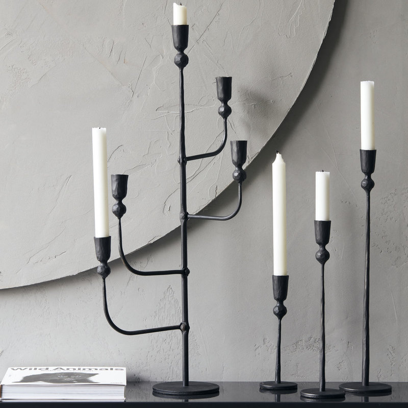 House Doctor-collectie Candle stand Trivo Black (candle/dia: 23cm) Handmade 41 cm