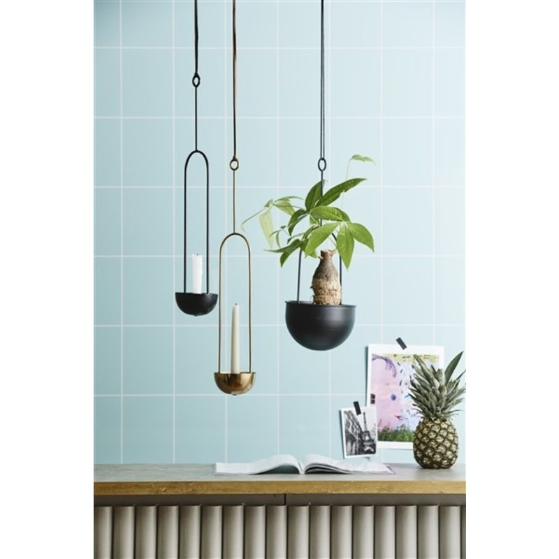 Nordal-collectie KOBBA candle holder f/hanging, black