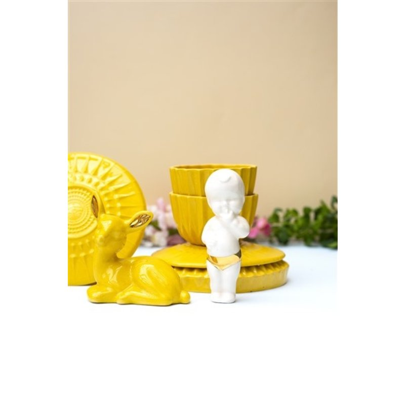 Atelier W.-collectie Ceramic figurine Sweet little baby with gold white height 11cm