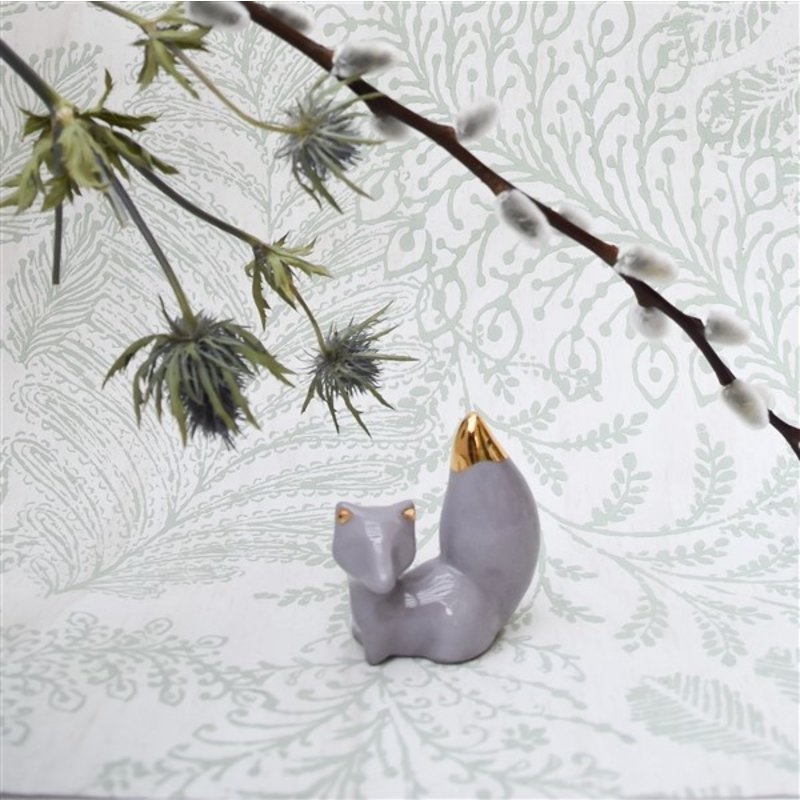 Atelier W.-collectie Ceramic figurine What does the fox say lavender height 8cm