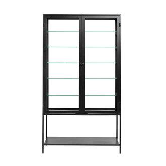 Nordal MONDO black cabinet, double, glass back