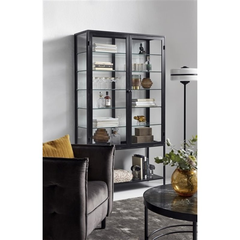 Nordal-collectie MONDO black cabinet, double, glass back