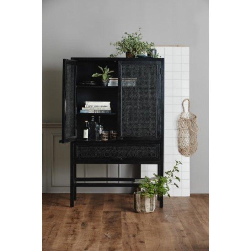 Nordal-collectie Teak houten kast webbing zwart