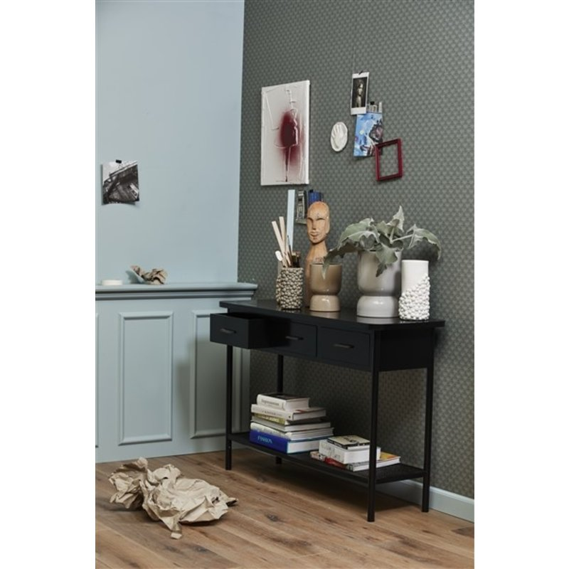 Nordal-collectie ARDA console table, 3 drawers, black