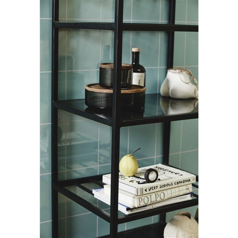Nordal-collectie BEAS iron wine rack w/glass, black