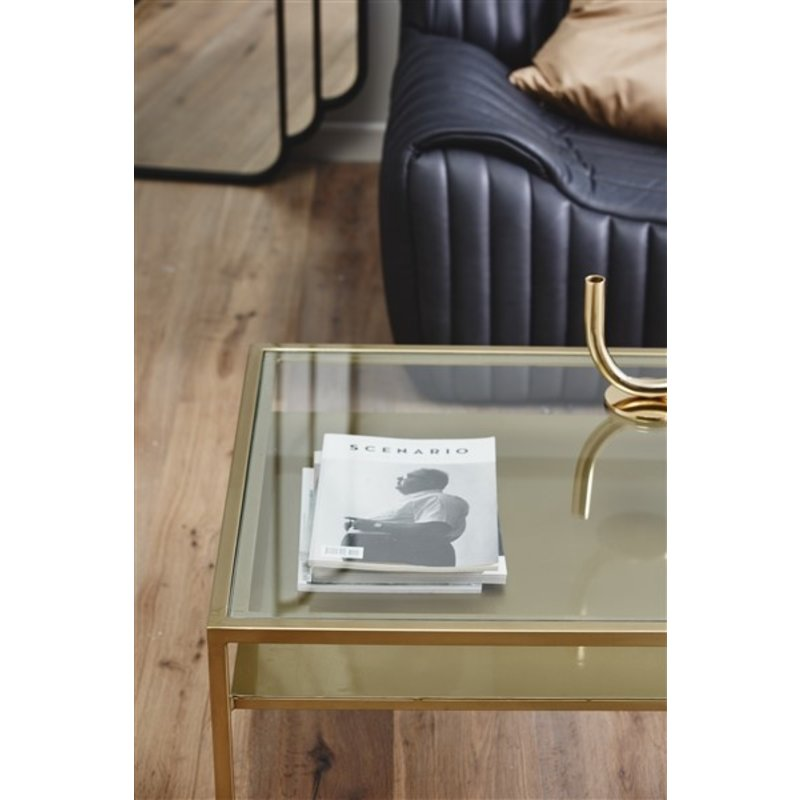 Nordal-collectie ETNE coffee table, golden w/clear glass