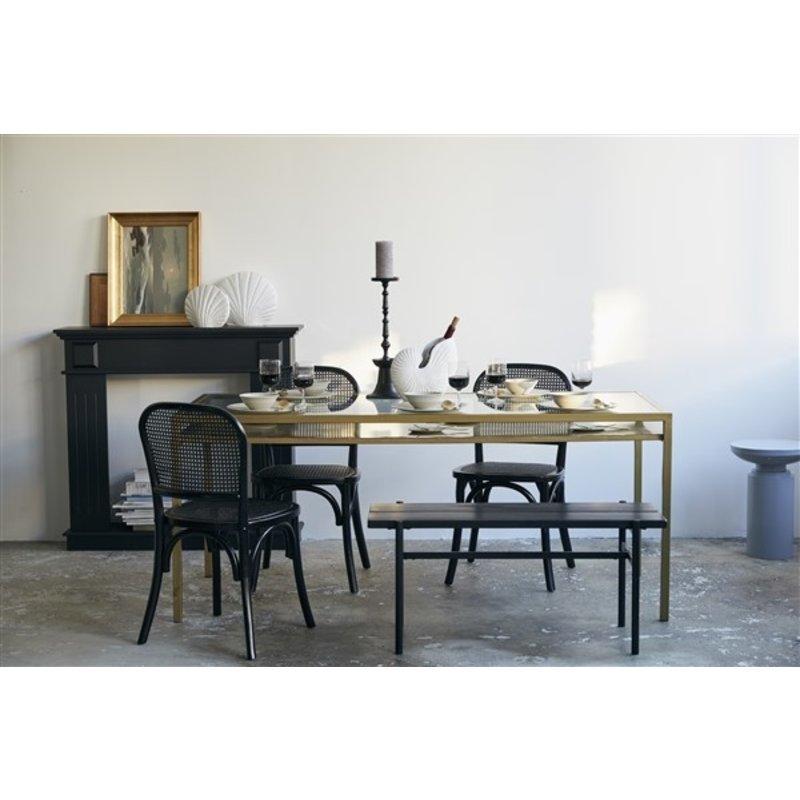 Nordal-collectie ETNE dinner table, golden w/clear glass