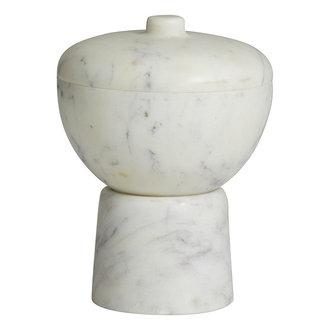 Nordal KALI storage bowl w/lid, white marble
