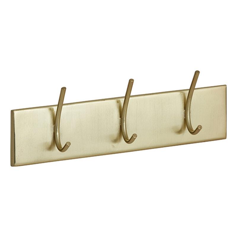 Nordal-collectie HAAOY coat rack, 3 hooks, golden metal