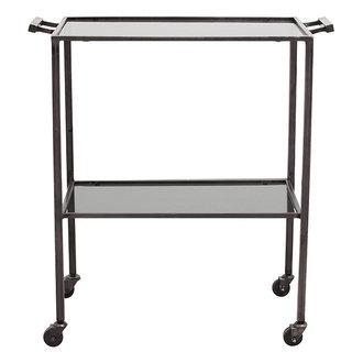 Nordal TONE trolley w/2 shelves, black glass