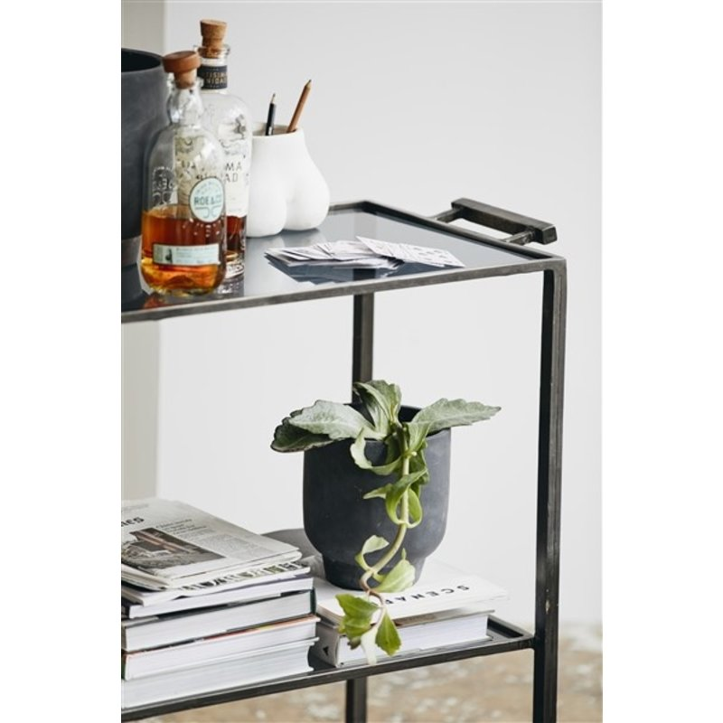 Nordal-collectie TONE trolley w/2 shelves, black glass