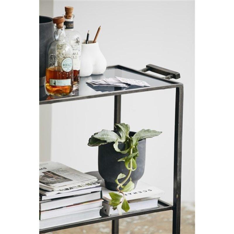 Nordal-collectie Trolley TONE met 2 planken zwart glas