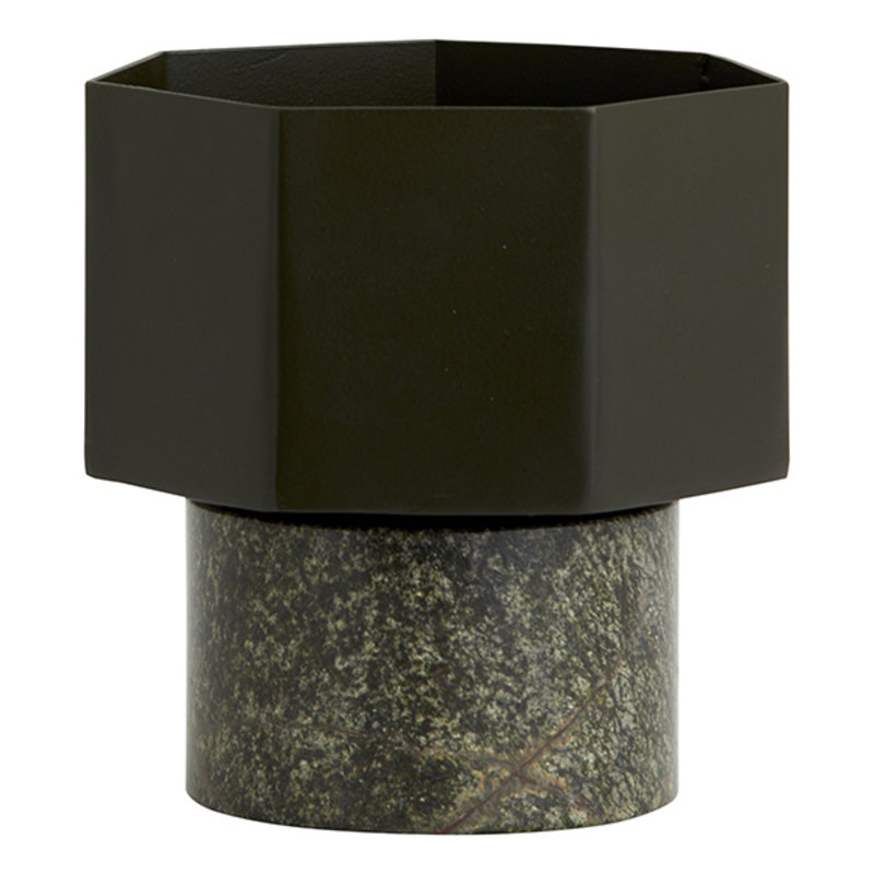 Nordal-collectie HEPTA vase/pot, small, army green