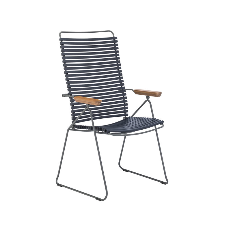 Houe-collectie CLICK Position Chair with armrests in bamboo Dark blue