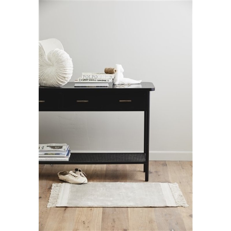 Nordal-collectie FILUCA shiny beige carpet w/fringes