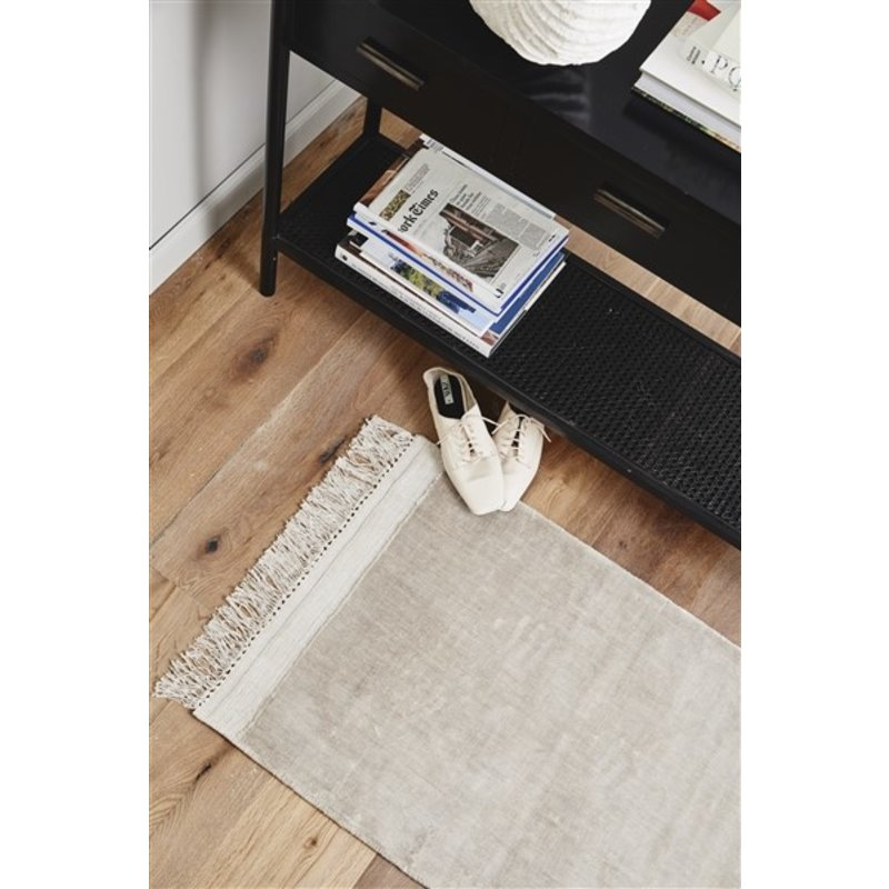 Nordal-collectie FILUCA shiny beige carpet w/fringes