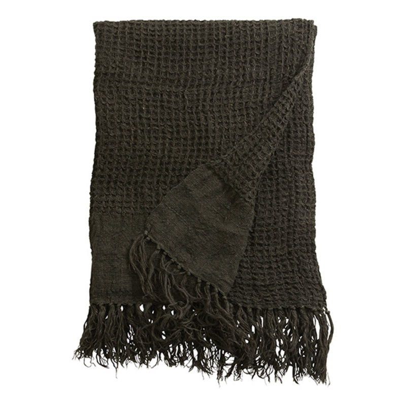 Nordal-collectie ARGO towel w/fringes, linen, charcoal