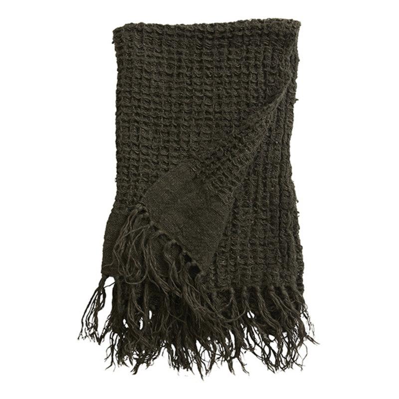 Nordal-collectie ARGO towel w/fringes, linen, charcoal