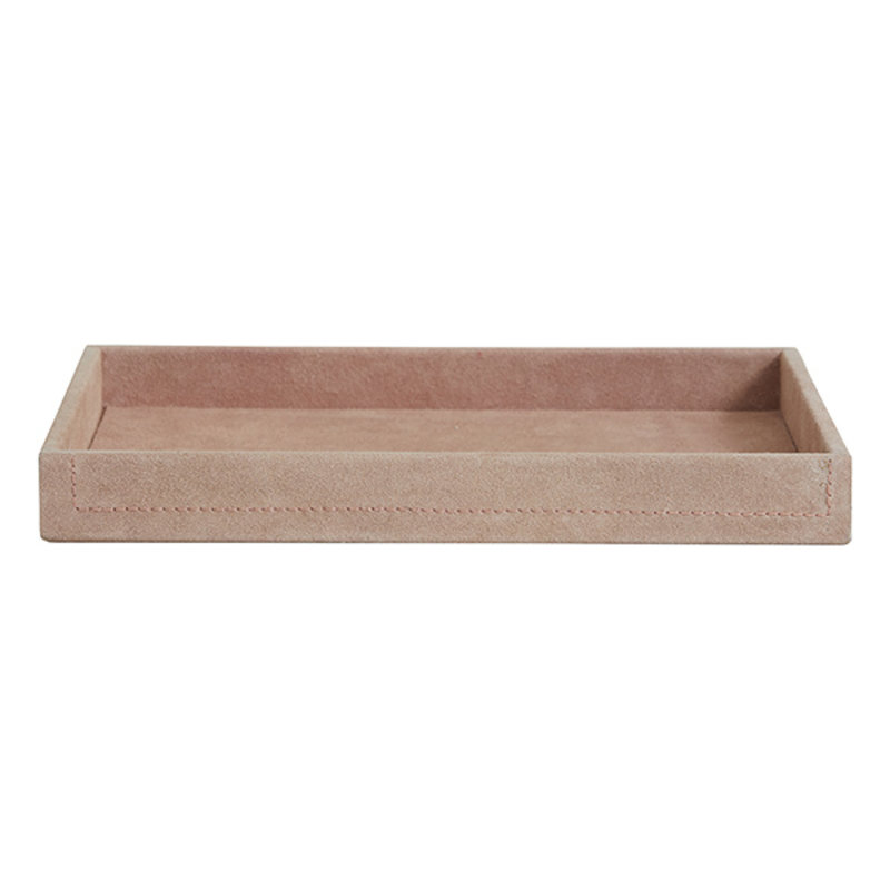 Nordal-collectie SAMOA tray, suede leather, rose, large
