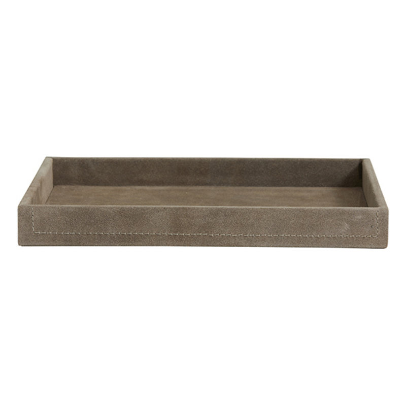 Nordal-collectie SAMOA tray, suede leather, grey, large