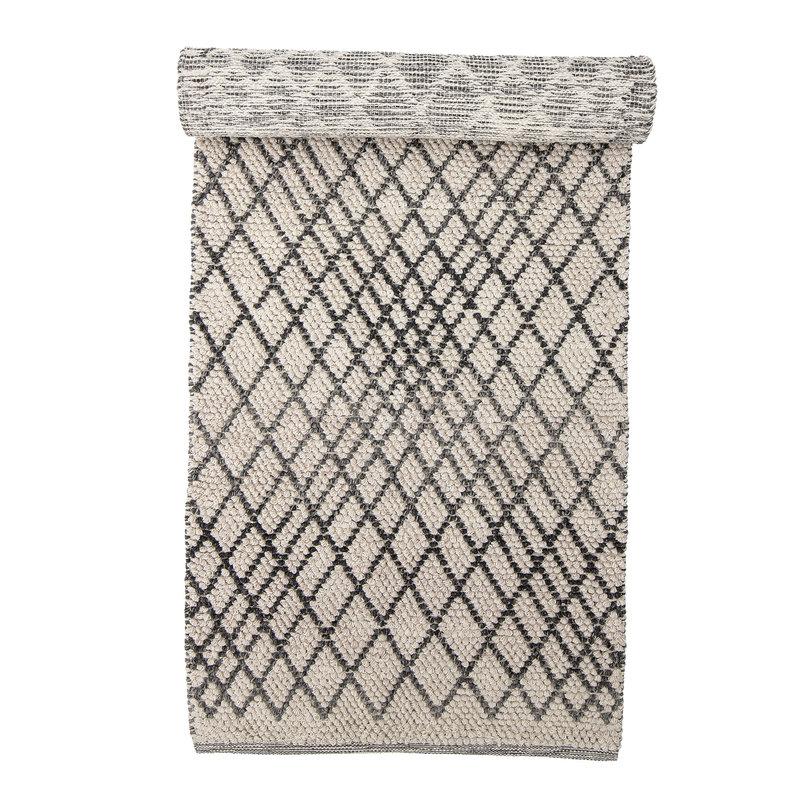 Bloomingville-collectie Vloerkleed Kaya wol met grafisch patroon grijs