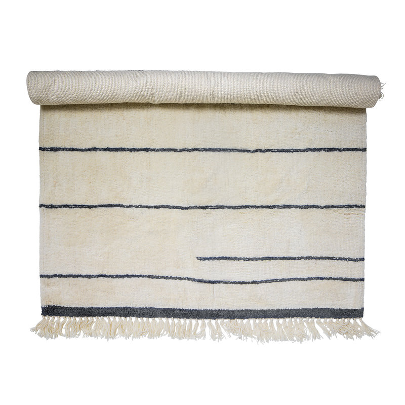 Bloomingville-collectie Vloerkleed Antonella  naturel wol met streep patroon