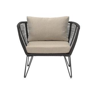Bloomingville Tuin lounge stoel Mundo zwart metaal incl. kussen