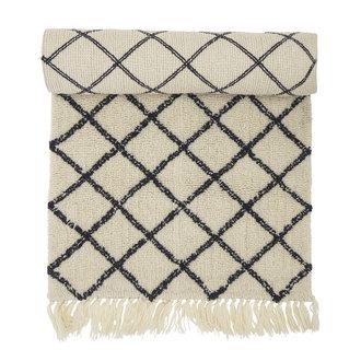 Bloomingville Vloerkleed Warda naturel wol met grafische print