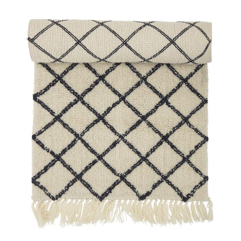 Bloomingville-collectie Vloerkleed Warda naturel wol met grafische print