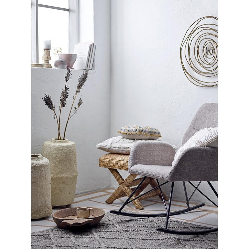 Bloomingville-collectie Pal Rocking Chair Grey Polyester
