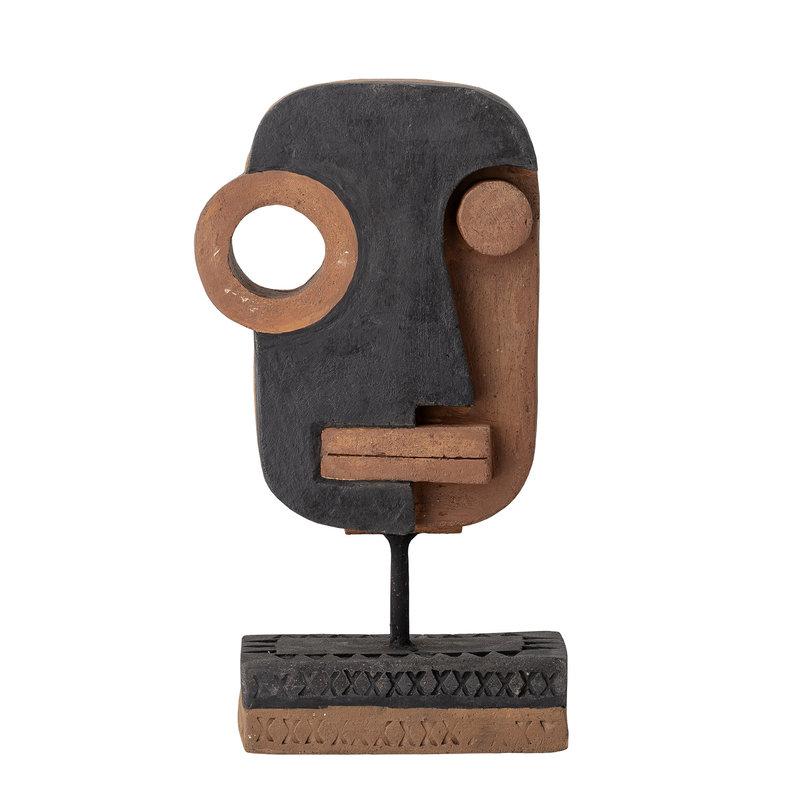 Bloomingville-collectie Beeld Kazo gezicht zwart - terracotta