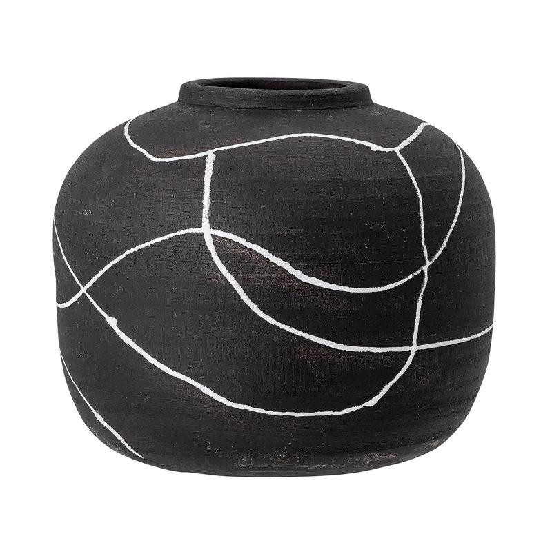 Bloomingville-collectie Niza Vase Black Terracotta
