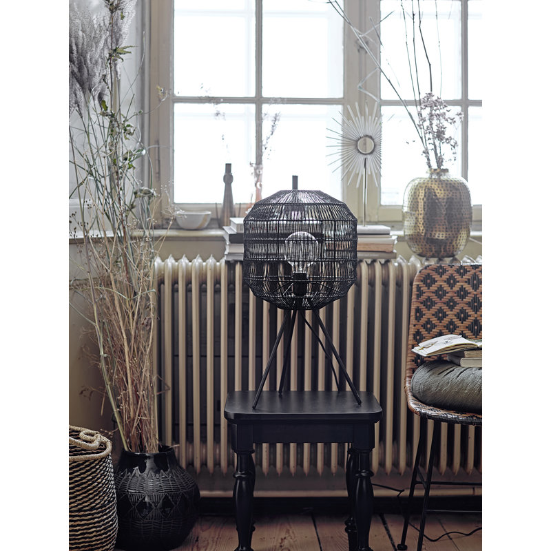 Bloomingville-collectie Kitty Dining Chair Black Rattan