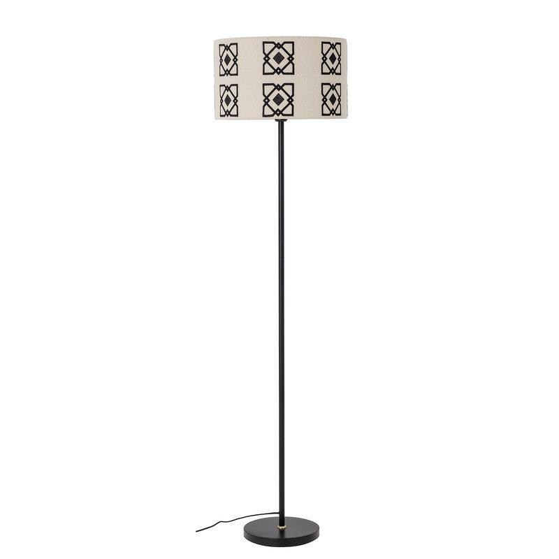 Bloomingville-collectie Vloerlamp Selita zwart - lampenkap met grafisch patroon