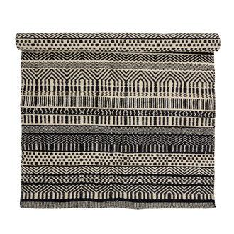 Bloomingville Vloerkleed Joob zwart wit grafisch patroon