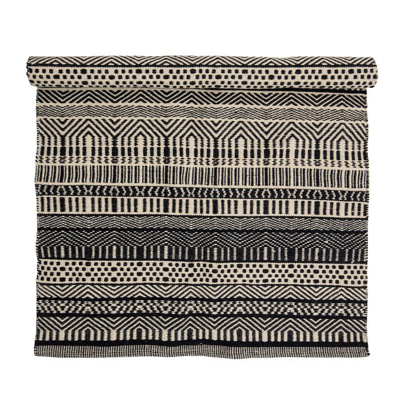 Bloomingville-collectie Vloerkleed Joob zwart wit grafisch patroon