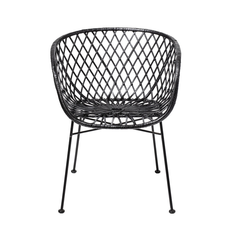 Bloomingville-collectie Kama Lounge Chair Black Rattan