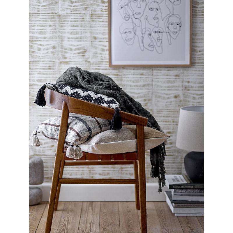 Bloomingville-collectie Kussen Ebna ruit patroon recycled katoen