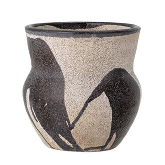Bloomingville Bloempot Nala zwart - naturel terracotta