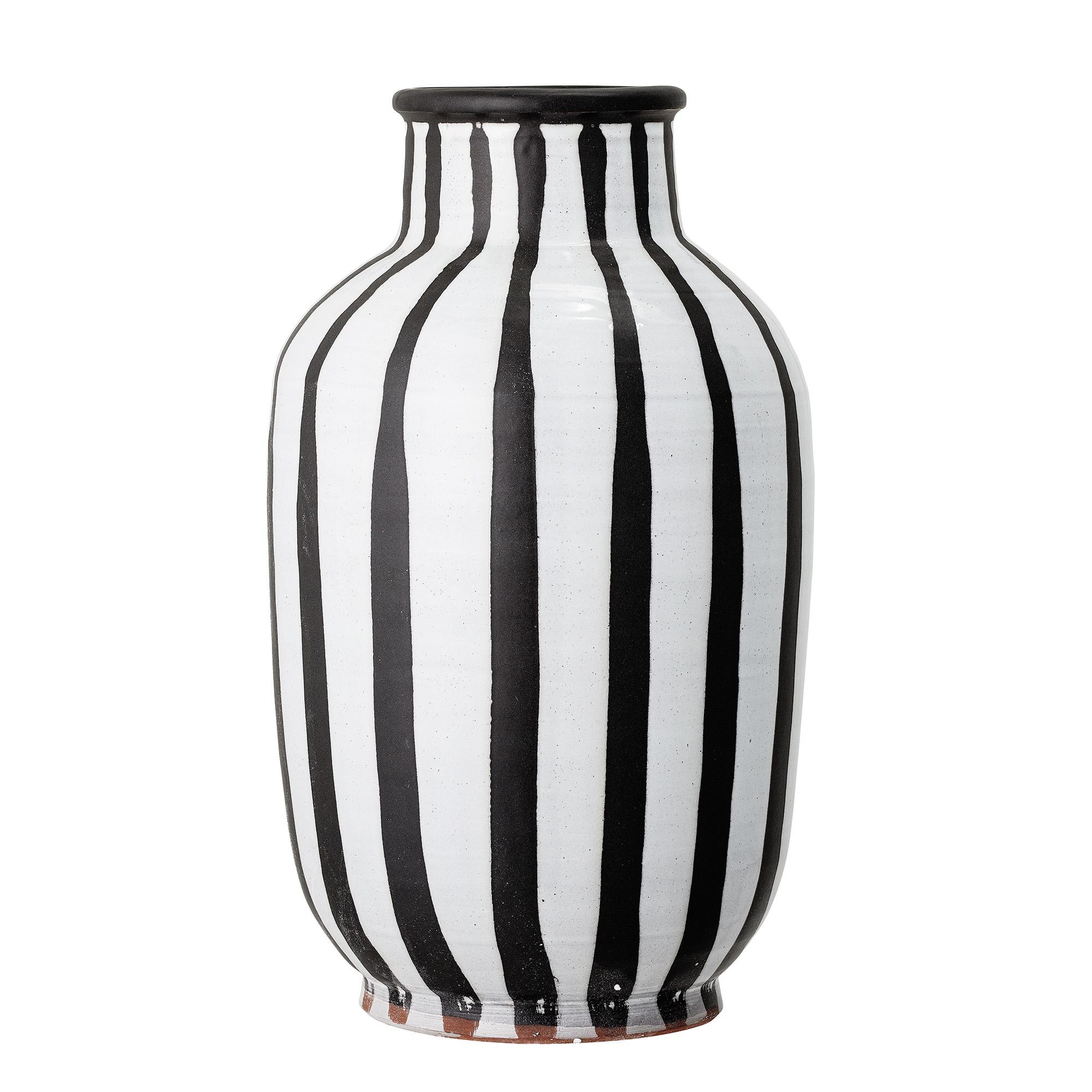 Bloomingville Decoratie Vaas Schila Zwart Wit Streep Terracotta Deens