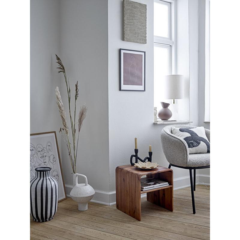 Bloomingville-collectie Decoratie vaas Schila zwart wit streep Terracotta