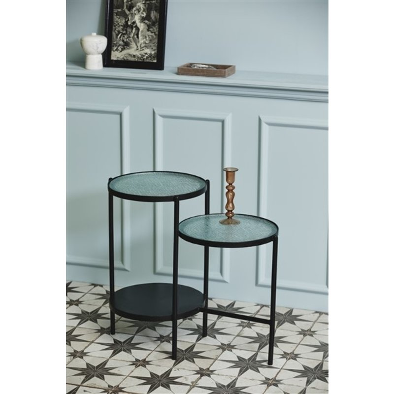 Nordal-collectie GERA side table, 2-in-one, black iron