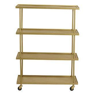 Nordal KAMO trolley w/4 shelves, golden