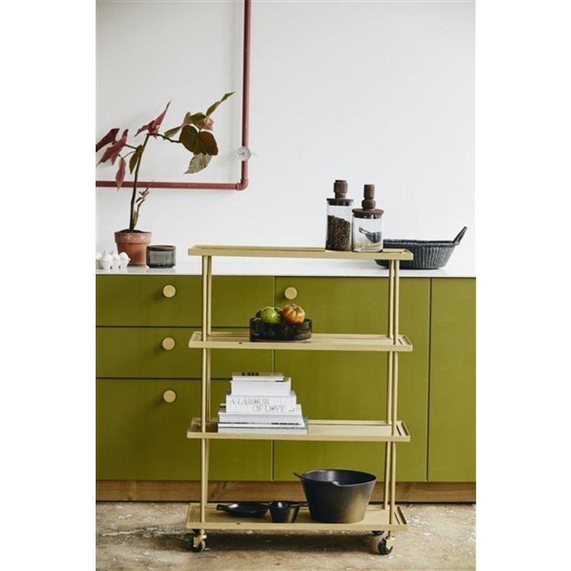 Nordal-collectie KAMO trolley w/4 shelves, golden