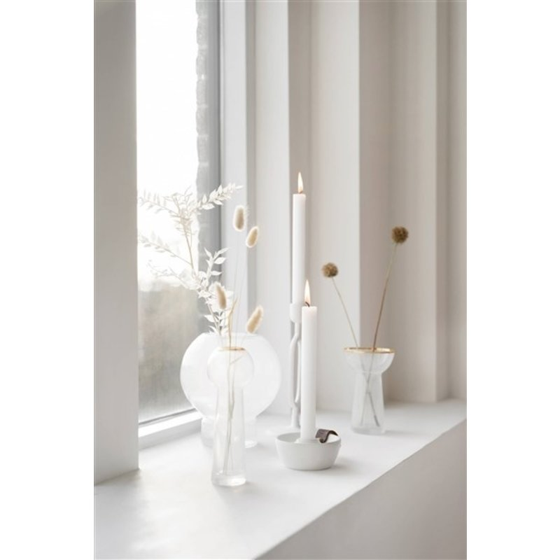 Zusss-collectie Glass vase with gold 6x5x18cm white / gold