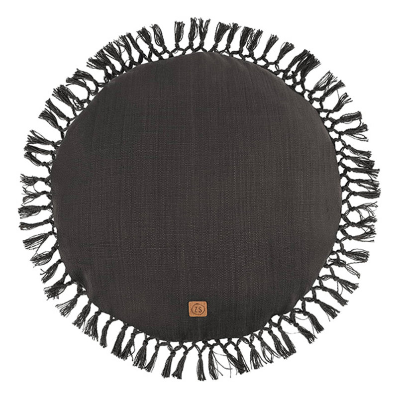 Zusss-collectie Round cushion with tassels 45cm graphite gray