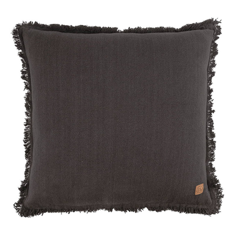 Zusss-collectie Cushion with fringes 45x45cm graphite gray