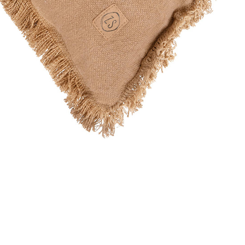 Zusss-collectie Cushion with fringes 45x45cm khaki