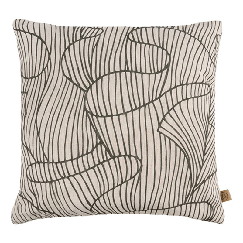 Zusss-collectie Cushion coral reef print 45x45cm pepper and salt